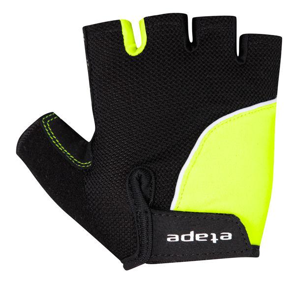 Etape - dětské rukavice TOBI, černá/žlutá fluo
